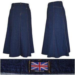 Dresses & Skirts - 3/$20 Ice Cool Jean Skirt Long Flared A-Line Dark